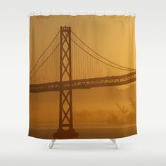 Stunning California Golden Sunrise Shower Curtain by Celeste Sheffey of Khoncepts - $68.00  #bathroomdecor