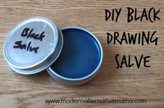 Make your own simple black drawing salve, for stings, bites, thorns, splinters, and more during the spring and summer. All natural and easy to make.