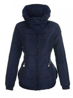 2015 New Cheap Moncler Outlet Women Down Jackets Womens Neck Collar Deep Blue.