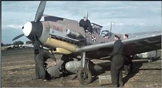 "Bf-109F JG 3 ""Udet"". Strange to see an aircraft in thhe African camouflage in Russia in summer 1941."