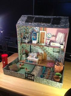 """Found on Cath Kidston's FB page in her """"Dream room in a box"""" photo album. - Found on Cath Kidston's FB page in her """"Dream room in a box"""" photo album. Cardboard Dollhouse, Cardboard Crafts, Diy Dollhouse, Dollhouse Miniatures, Activities For Kids, Crafts For Kids, Box Houses, Doll Furniture, Diy Toys"""