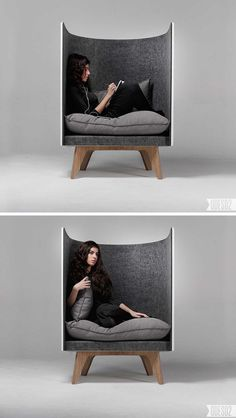 12 Comfy Chairs Perfect For Relaxing In // This is perfect for relaxing in and tuning out the world. The felt padding helps keep your environment quiet and the big fluffy cushions create a comfy spot to sit. Diy Chair, Sofa Chair, Chair Cushions, Pallet Chair, Chair Pads, Unique Furniture, Furniture Design, Furniture Ideas, Contemporary Furniture