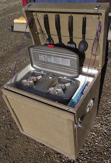 Stove box-- place on sliding tray to allow us in the galley or moved to picnic table. sm propane bottle below & cook kit Camping Chuck Box, Camping Box, Truck Camping, Camping Stove, Family Camping, Camping Ideas, Camper Hacks, Camper Trailers, Car Camper