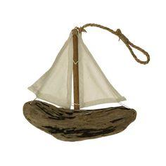 Hanging driftwood boat idea.