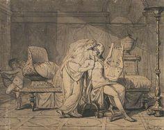 Paris and Helen, 1786, Jacques-Louis David, black ink