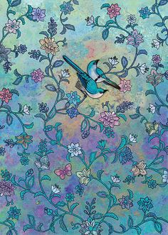 Blue Birds - designed by Jane Crowther for Bug Art Greeting Cards.