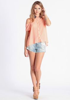 Nothing To Lose Studded Collar Blouse in Peach