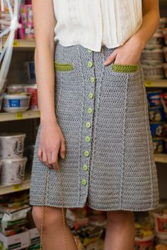 Crochet post stitches and a pop of color at the pockets; yes I want this crochet skirt. Nori Skirt