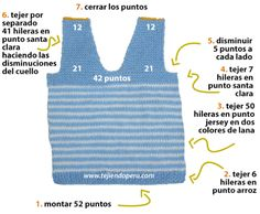 chaleco con cuello en V para niños - knitted vest for kids Baby Knitting Patterns, Loom Knitting Projects, Baby Clothes Patterns, Sewing Patterns For Kids, Clothing Patterns, Crochet For Boys, Knitting For Kids, Crochet Baby, Knit Vest