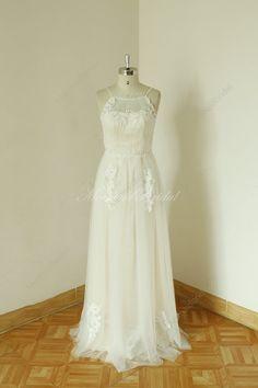 2014 nackt Futter Sleeveless schier Elfenbein-Hochzeitskleid, Prom Dress, Transparant Prom Kleider mit kleinen Riemchen und hinten durchschauen