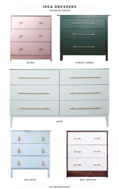 "top 5 ikea dresser hacks - Mint Modern Home Lately I've been craving a project. Just something I can look at by the end of the weekend with excitement and say ""hey, I made this!"" I love our vintage campaign dresser in the guest room, but Jon and I … Hack Commode Ikea, Ikea Dresser Hack, Dresser Top, Teen Dresser, Ikea Hack Bathroom, Mint Bathroom, Ikea Nightstand, Pink Dresser, Three Drawer Dresser"