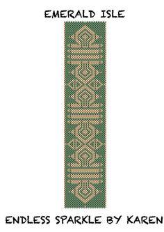 Emerald Isle Peyote Cuff Bracelet Pattern by Endlessparklebykaren