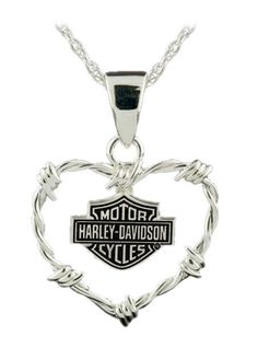 harley davidson jewelry for women | Harley-Davidson® Womens B&S Barb Wire Heart Sterling Silver Necklace ...
