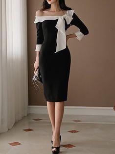 Black Paneled Bow Tie Cold Shoulder Sheath Statement Dress