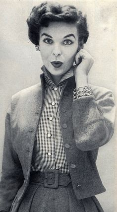 Cute + chic 1952 ensemble (love the wide belt and fitted jacket). Della Street here we come !