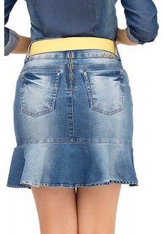 saia jeans barra babado manchada laura rosa recorte costa