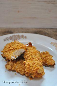 Pollo crujiente con miel y mostaza {al horno y sin huevo}