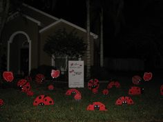 "We deliver at night so they will be surprised in the morning. Mom said that the kids loved their Lady Bug ""Love bug"" Valentines Day yard card. We also do Birthday's! Visit us at OrlandoBirthdayGram. com"