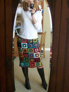 Crochet inspiration - contemporary granny square skirt