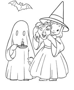 Halloween Costume Coloring Pages - Witch and Ghost Halloween Costumes