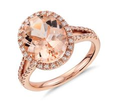 A Blue Nile favorite! This gemstone and diamond ring features an oval morganite surrounded by brilliant diamonds and complemented in rose gold. Morganite Jewelry, Gemstone Jewelry, Diamond Jewelry, Colored Engagement Rings, Best Engagement Rings, Engagement Jewellery, Wedding Engagement, Pink Diamond Ring, Halo Diamond