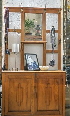 Perfect entranceway teak cabinet with hooks,mirror & storage, what more do you need!