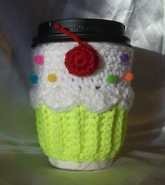 NEW Cupcake CUP SLEEVE / Cozy for HOT or COLD Drinks Neon Yellow White Handmade Crochet By Me