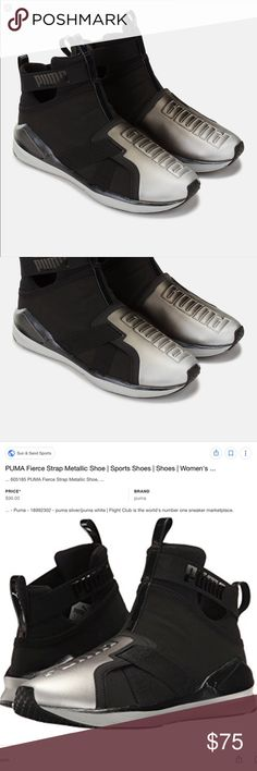 NWOB PUMA Fierce Strap Metallic Black Silver Shoes Brand new; never worn! Size 7 but they're a bit narrow. Straps are not adjustable. One small mark on left shoe, near top at crease (5th pic).  Reasonable offers welcome. See chart at top of my closet. Lowball offers will be countered with my lowest acceptable price. Ask all questions before purchasing. Additional pics provided upon request. No trades. All sales are final. Puma Shoes