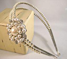 Pearl headband, Swarovski, Pearl tiara, Headband, Tiara, Side tiara, Vintage headband, Vintage tiara, Pearl, Double headband, Bridal tiara -$120.00