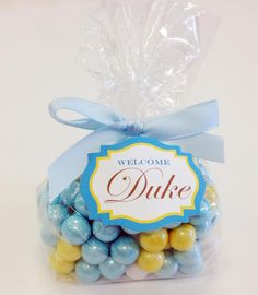 """Baby Boy Shower Candy favors. A Cute bag of shimmer sixlets in Shimmer Blue and yellow. label was die cut with my Spellbinder Nestabilities 18 die. used the #758000 cello bags and 1/4"""" satin gold ribbon from Papermart.com - Let me make them for you, see my ETSY store: SweetLadera"""