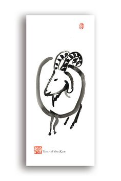 Zen Brush illustrations by Seiko Morningstar of 'Zen by the Brush'. 2015 Chinese New Year of the Sheep, Ram, Goat Chinese zodiac, Shengxiao red evelope, Chinese Zodiac zen art postcards & red envelopes