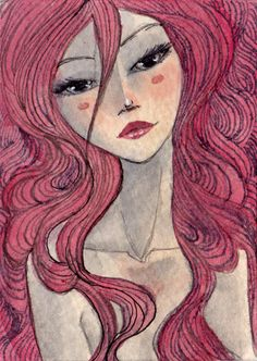ATC: pink tresses by Renee Nault, via Flickr