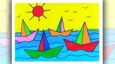 How to draw Simple Scenery for Kids, Boat Scenery Drawing for Beginners Flower Drawing For Kids, Cute Drawings For Kids, Basic Drawing For Kids, Drawing Pictures For Kids, Scenery Drawing For Kids, Drawing Lessons For Kids, Drawing For Beginners, Boat Drawing Simple, Crayon Drawings