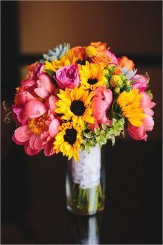 yellow pink and orange bouquet @weddingchicks