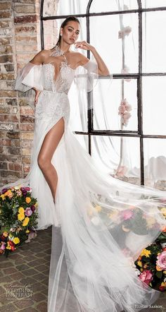 elihav sasson 2019 bridal off the shoulder bell sleeves deep plunging sweetheart neckline full embellishment slit skirt fit and flare wedding dress keyhole back chapel train mv -- Elihav Sasson 2019 Wedding Dresses Wedding Dress Types, Western Wedding Dresses, V Neck Wedding Dress, Fit And Flare Wedding Dress, Perfect Wedding Dress, Wedding Party Dresses, Bridal Dresses, Glamour, Dresses Elegant