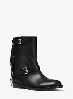 2235e3129840d Ingrid Fringed Leather Boot Leather Slip Ons