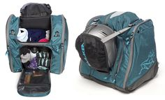 Kulkea Powder Trekker Ski boot backpack and helmet carrier in teal and grey. A look inside the stylish bag's ample storage and organizing pockets for all of your ski gear.  www.kulkea.com