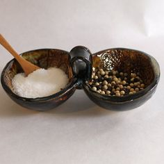 Pottery Salt and Pepper Bowl with a Wooden by TulaneRoadPottery, $34.00 #salt #giftforcook #kitchen #spice #pottery