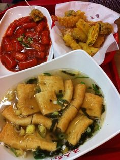 Street food in Korea. Spicy rice cake, Fish cake, and fried veggies. Mmm.
