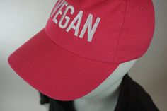 Vegan baseball cap  Be Vegan. Be Proud! Designed, embroidered, and made in the USA. $3.00 goes to the Farm Sanctuary.