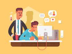 Boss looks employee vector illustration