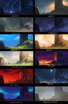 Color studies by Victor-Hugo Borges for Nathan Fawke's Color and Light class at Schoolism.