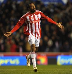 Ricardo Fuller Ricardo Fuller of Stoke celebrates after scoring to make it 2-0 during the Barclays Premier League match between Stoke City a...