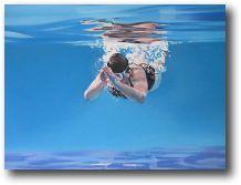 Priscilla Watkins paints people swimming at Brockwell Lido.  19 Lovelace Road SE21
