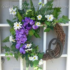 Check out this item in my Etsy shop https://www.etsy.com/listing/227100238/purple-monogram-wreath-hydrangea-wreath