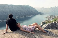 Happy in Kotor, Macedonia. View from the old walls of Sveti Ivan fortress.