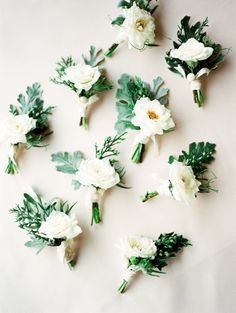 Gorgeous boutonnieres: http://www.stylemepretty.com/2015/08/18/sweet-elegant-north-carolina-wedding/ | Photography: Marcie Meredith - http://marciemeredith.com/