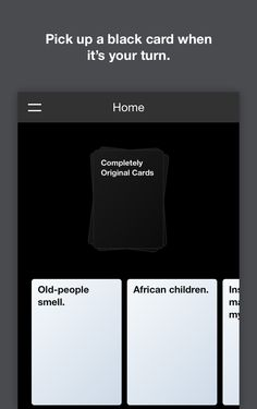 Cards Against Originality, an online app for Cards Against Humanity. OMG you can play it free online!!!