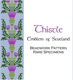 Scottish Thistle Peyote Stitch Beadwork Pattern - Cuff Bracelet - Bookmark - Beaded Tapestry - PDF instant download
