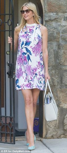 What a change: Last week, Ivanka took advantage of the warm Washington, D.C. weather by putting her legs on show in this sleeveless floral frock